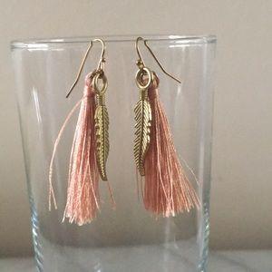 BOHO Gold Feathered peach tassel earrings
